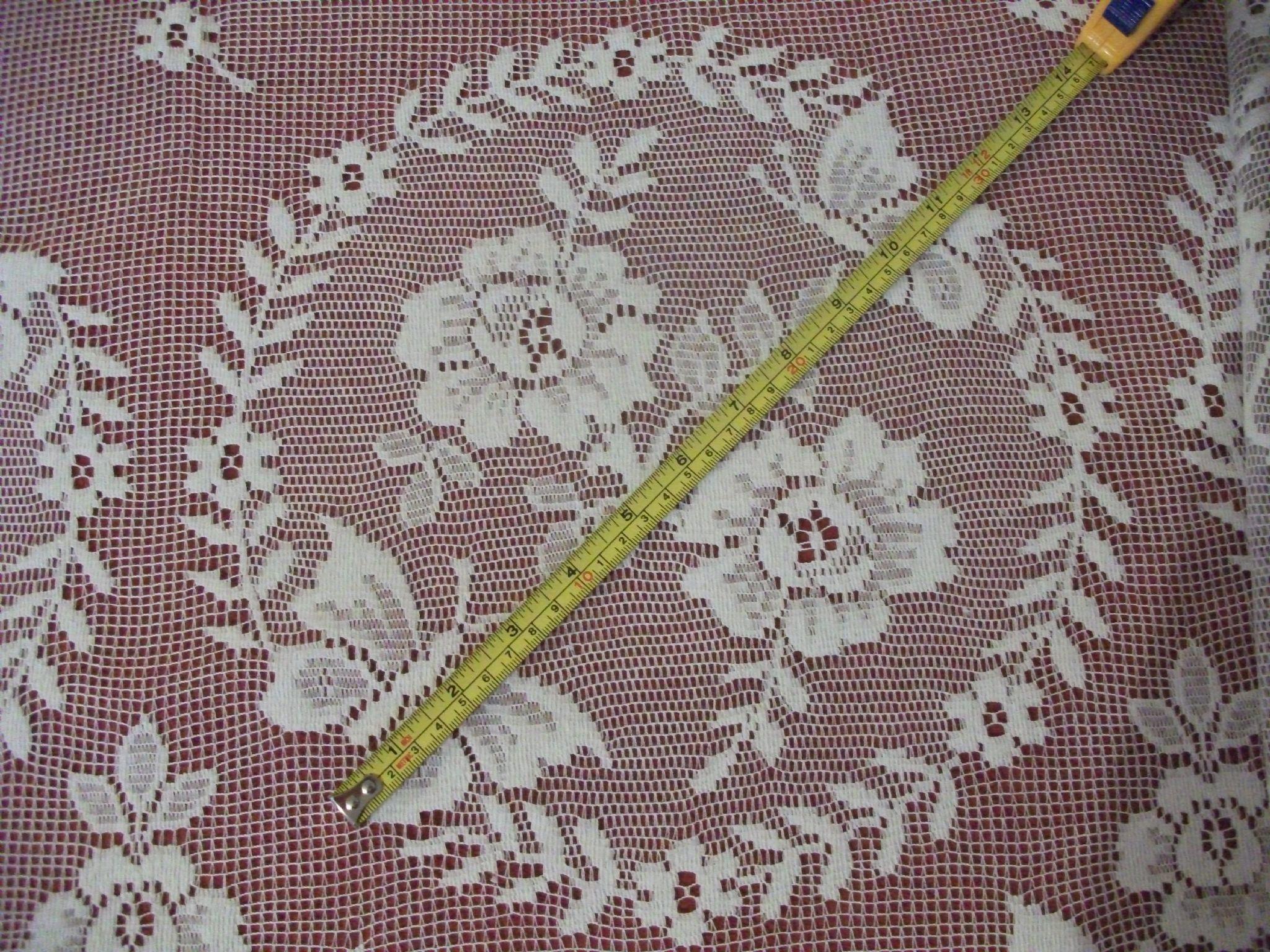 Cotton lace curtains - Vintage Cotton Ivory Cream Nottingham Butterfly Garden Lace Curtain 60cms Drop